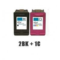 REMANUFACTURED HP 62 VALUE PACK (2BK+1C)